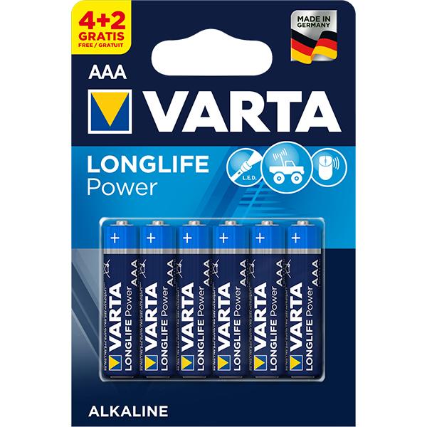 Baterii alcaline AAA VARTA Longlife Power, 4+2 bucati
