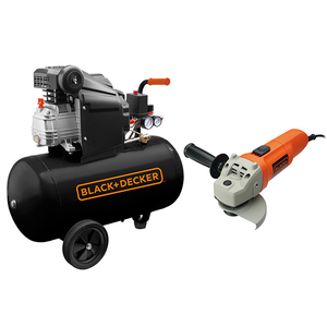 Compresor BLACK & DECKER BD 205/50, cu ulei, 50 litri, 2 CP, 8 Bar + Polizor BLACK&DECKER KG115