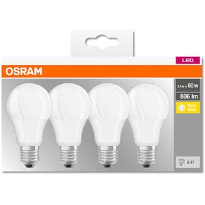 Set 4 becuri LED OSRAM 4058075819450, E27, 8.5W, lumina calda