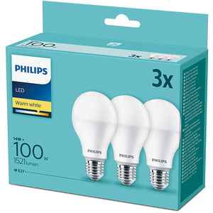 Set 3 becuri LED PHILIPS 8718699694920, E27, 14W, lumina calda