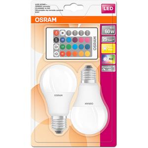 Set 2 becuri LED RGBW OSRAM 4058075091733, E27, 9W, Telecomanda