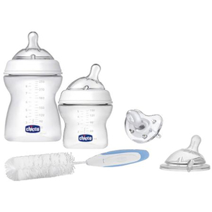 Set CHICCO Natural Feeling: 2 biberoane 150ml + 2 biberoane 250ml + suzeta + tetina + perie, 0 luni +, transparent