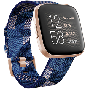 Smartwatch FITBIT Versa 2 Special Edition, Android/iOS, Navy Pink Woven Band / Copper Rose Aluminum Case
