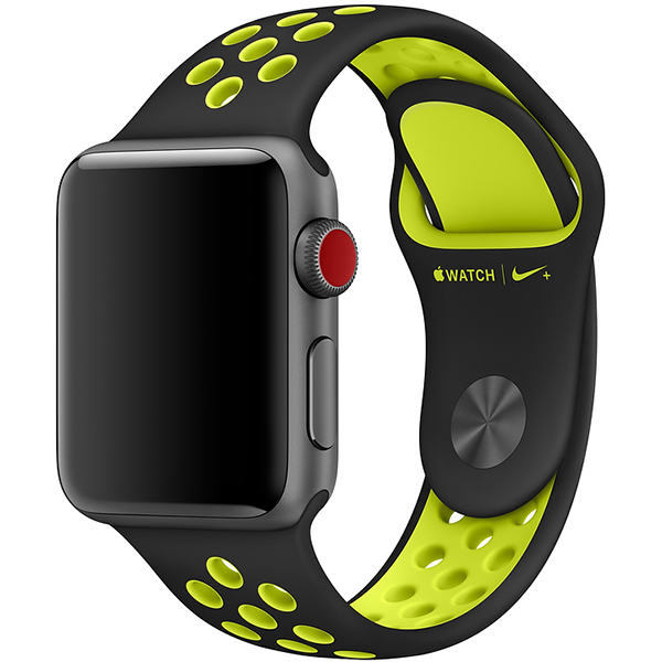 Bratara pentru APPLE WATCH NIKE Sport Band 38mm MQ2H2ZM/A, black/volt