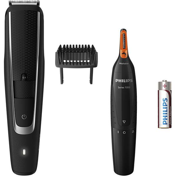 Pachet aparat de tuns barba PHILIPS BT5503/85 + trimmer nas si urechi, acumulator, 60 min autonomie, negru
