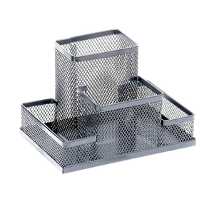 Suport accesorii birou MEMORIS Precious Mesh, 4 compartimente, metal, argintiu