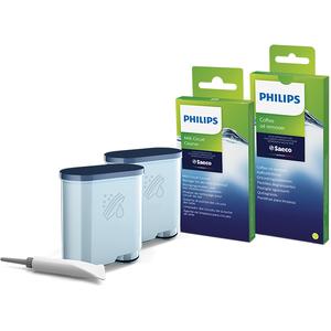 Kit de intretinere PHILIPS CA6707/10, 2 x filtre, 6 x tablete indepartare uleiului de cafea, 1 x lubrifiant, 6 x plicuri de pudra de curatare a circuitului de lapte