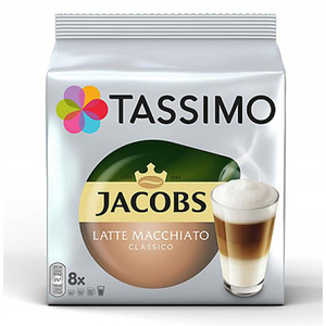 Capsule cafea JACOBS Tassimo Latte Macchiato, 8 capsule cafea + 8 capsule lapte, 295g