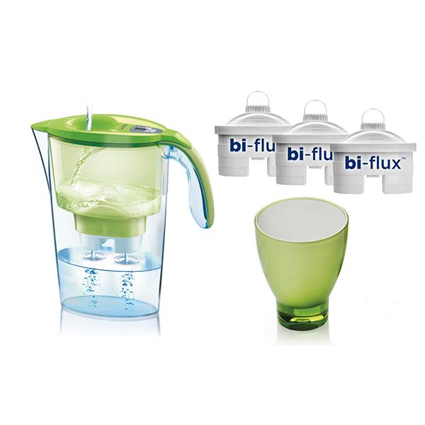 Set cana filtranta LAICA J998E + 3 filtre Bi-Flux + Pahar de colectie, verde