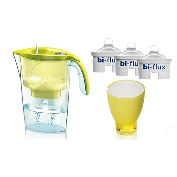 Set cana filtranta LAICA J998Y + 3 filtre Bi-Flux + Pahar de colectie, galben