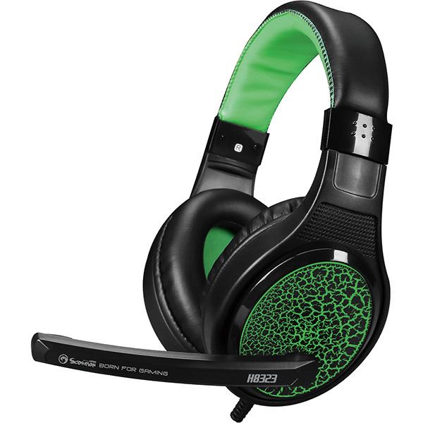 Casti Gaming MARVO H8323, stereo, 3.5mm, negru-verde