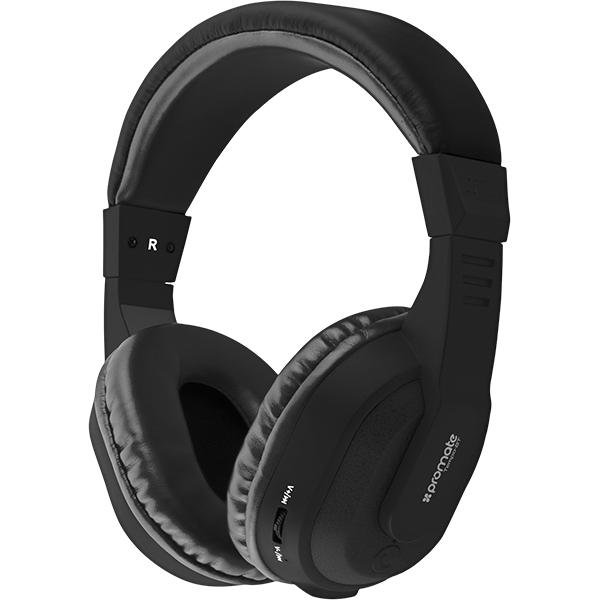 Casti PROMATE Tempo-BT, Bluetooth, Over-Ear, Microfon, negru