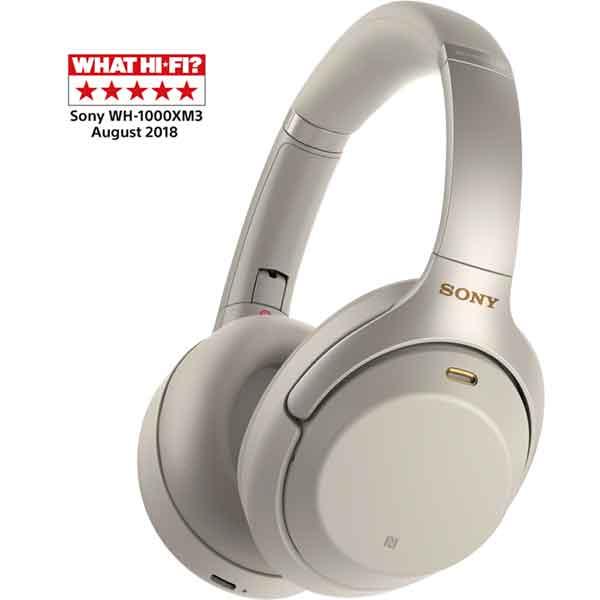 Casti SONY WH-1000XM3S, Bluetooth, NFC, On-Ear, Microfon, Noise Cancelling, argintiu