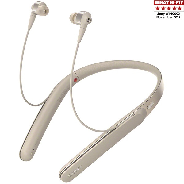 Casti SONY WI-1000X, Bluetooth, NFC, In-Ear, Microfon, Noise cancelling, Hi-Res, auriu
