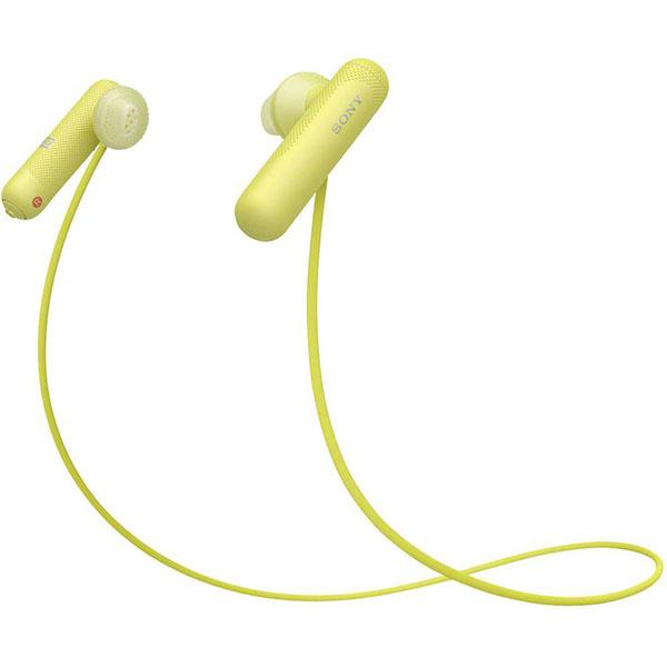 Casti audio sport in ear SONY WI-SP500Y, Google Assistant, Wireless, Bluetooth, NFC, Rezistente la stropire, Galben