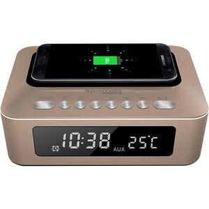 Ceas cu radio PROMATE timeBase-1, Statie incarcare, Bluetooth, 10W, auriu