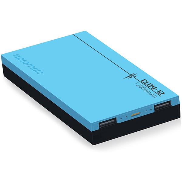 Baterie externa PROMATE Cloy-12, 12000mAh, 2xUSB, Blue