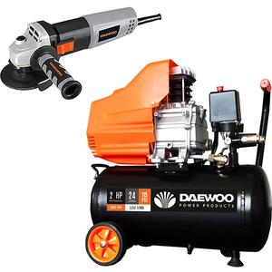 Compresor aer DAEWOO DAAC24D, 24L, 1500W, 2CP, 8 bar, 169L/min, cu ulei + Polizor unghiiular DAEWOO DAAG115-75