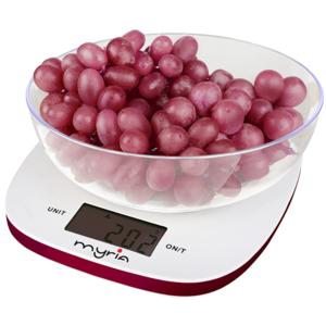 Cantar de bucatarie MYRIA MY4401RD, 5 kg, alb-roz
