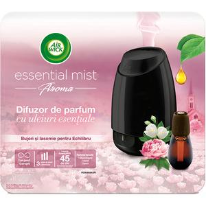 Difuzor de parfum AIR WICK Essential Mist negru cu Bujori si Iasomnie, 20 ml