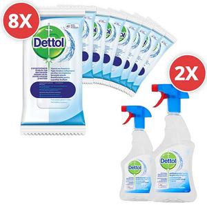 Pachet spray Dettol Trigger 2 x 500 ml + servetele dezinfectante 8 x 40 buc