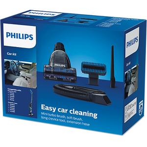 Kit accesorii PHILIPS FC6075/01: 1 Mini perie turbo + 1 Perie moale pentru suprafete delicate + 1 Accesoriu pentru spatii inguste + 1 Extensie furtun curatare auto interior