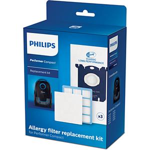 Kit PHILIPS Performer Compact FC8074/02: 3 saci + 1 Filtru anti-alergeni + 1 Filtru de admisie pentru motor
