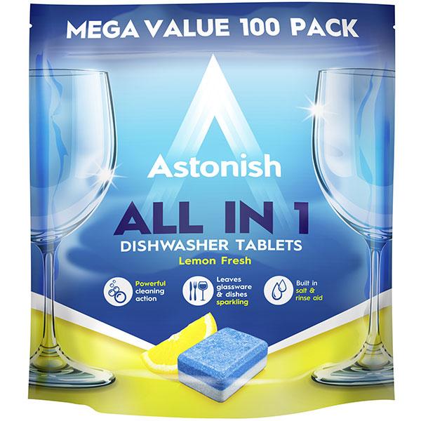 Tablete petru masina de spalat vase ASTONISH All in One C2171, 100 bucati