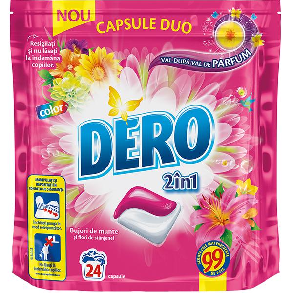 Detergent DERO Duo Caps Bujor de munte, 24 capsule, 24 spalari