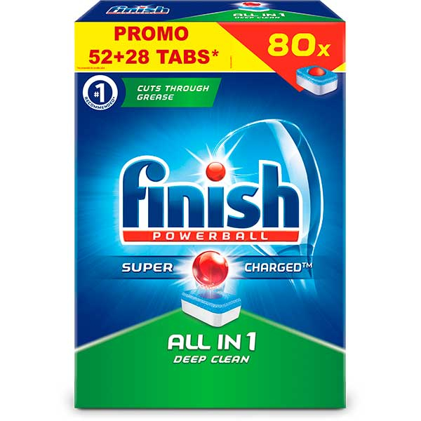 Detergent de vase FINISH All in One, 52+28 bucati