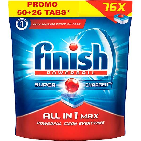 Detergent de vase FINISH All in One Max, 50+26 bucati