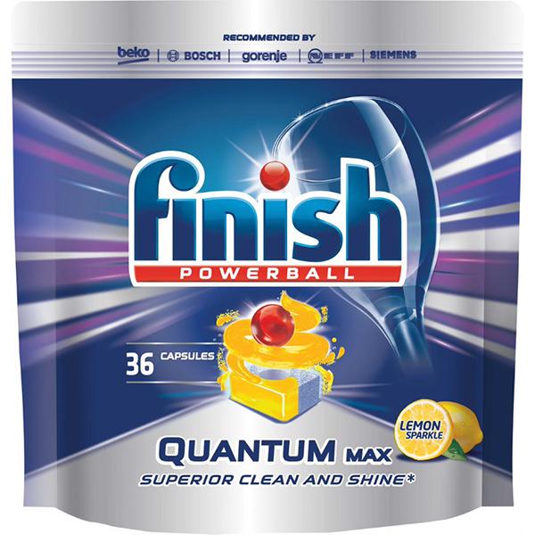 Detergent pentru masina de spalat vase FINISH Quantum Lamaie, 36 bucati