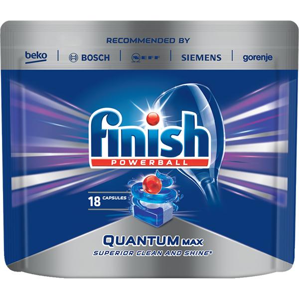 Detergent vase pentru masina de spalat vase FINISH Quantum, 18 tablete