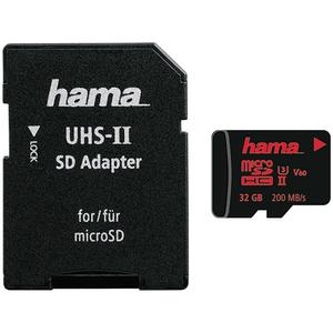 Card de memorie HAMA 124187 microSDXC 32GB, Clasa 10 UHS-II, 200MBs, adaptor