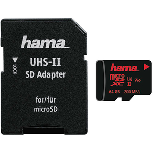 Card de memorie HAMA 124188 microSDXC 64GB, Clasa 10 UHS-II, 200MBs, adaptor