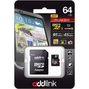 Card de memorie ADDLINK microSDXC 64GB, Clasa 10 UHS-I U3, 95MBs, adaptor