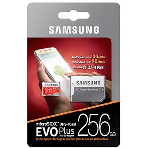 Card de memorie SAMSUNG EVO Plus MicroSDXC 256GB, Clasa 10 UHS-I, 100MBs, adaptor