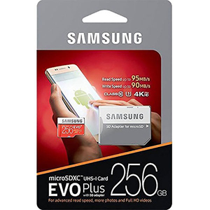 Card de memorie SAMSUNG EVO+ MicroSDXC 256GB, Clasa 10 UHS-I, 95MBs, adaptor