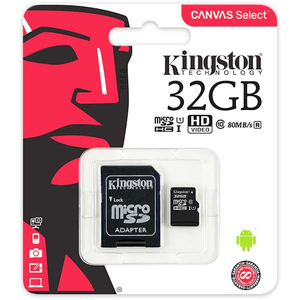 Card de memorie KINGSTON Canvas Select microSDHC 32GB, clasa 10 UHS-I, 80 MBs, adaptor