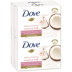 Pachet DOVE Coconut Milk: Sapun, 4 x 100g