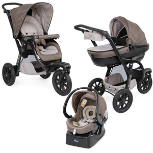 Carucior 3 in 1 CHICCO Trio Active Car Kit, 0 luni - 3 ani, maro dechis