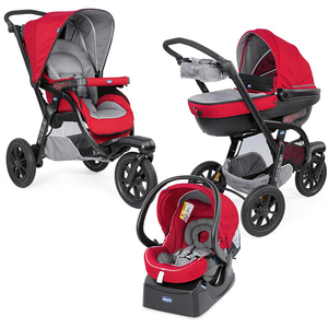 Carucior 3 in 1 CHICCO Trio Active Car Kit, 0 luni - 3 ani, rosu