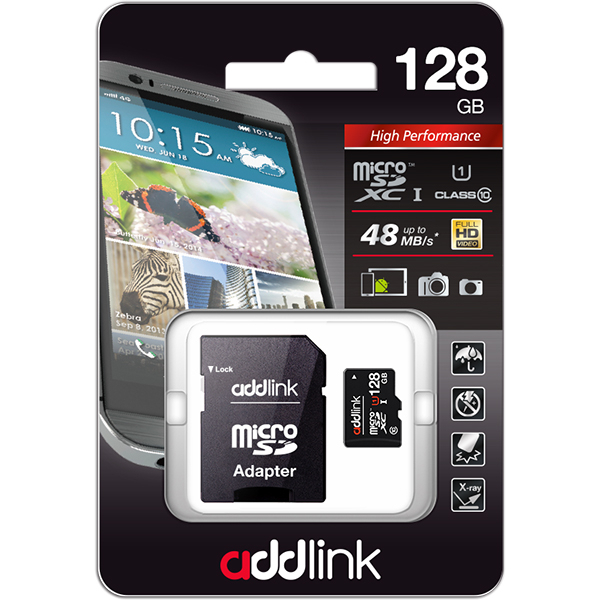 Card de memorie ADDLINK microSDXC 128GB, Clasa 10UHS-I U1, 48MB/sec, adaptor