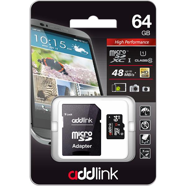 Card de memorie ADDLINK microSDHC 64GB, Clasa 10 UHS-I U1, 48MB/sec, adaptor