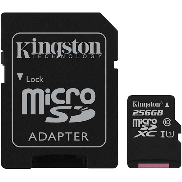 Card de memorie KINGSTON Canvas Select microSDHC 256GB, clasa 10 UHS-I, 80 MBs, adaptor