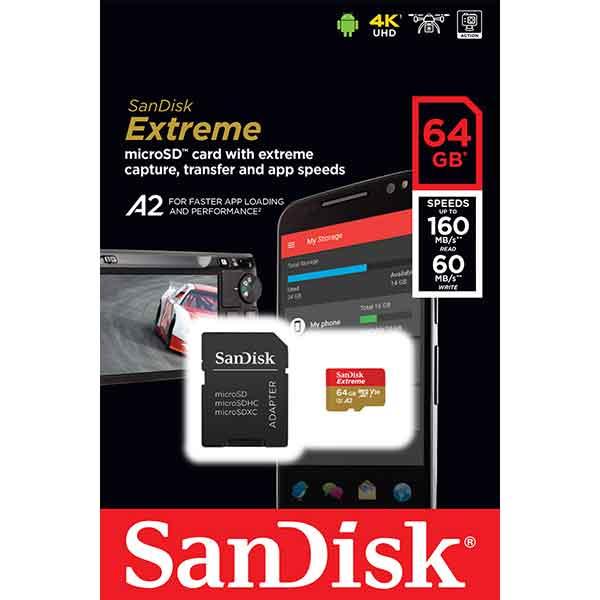 Card de memorie SANDISK Extreme microSDXC, 64 GB, clasa 10 A2 UHS-I, 160MBs, adaptor