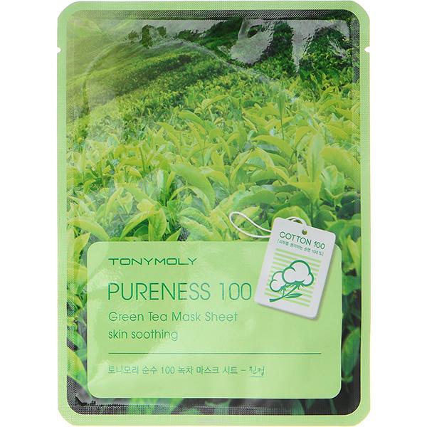 Masca de fata TONYMOLY Pureness 100 Green Tea Mask Sheet Skin Soothing, 21g