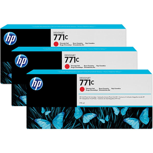 Pachet 3 cartuse HP 771C (B6Y32A), rosu