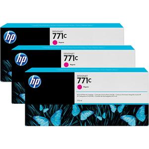 Pachet 3 cartuse HP 771C (B6Y33A), magenta