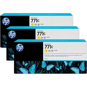 Pachet 3 cartuse HP 771C (B6Y34A), galben